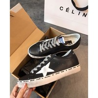 Golden Goose Ggdb Hi Star Black Sneakers With White Laminated Star - Best Online Sale