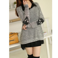Two Peices Loose Stylish Women Skull Pullover Hollow Sweater Knitwear Cardigan  SV007577 (Size: L, Color: Grey)
