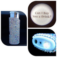 """Bling Lighter w/ Built-In LED Light (""""Can I buy you a drink?"""") w/ Rhinestone Crystals"""