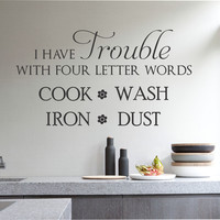 Hate Cleaning Decal | Vinyl Wall Lettering | Wall Quotes
