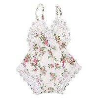 born Kids Baby Girls Clothes Floral Back Cross Romper Outfits Lace V-Neck Jumpsuit