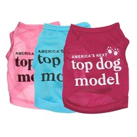 "2016 New 1 pcs Summer Fashion Lovely ""America's Next Top Dog Model ""Dog Shirt Pet Vest Clothes for Pets Dog Clothes"