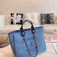 854 Fashion Canvas Chain Classic Pharrell Handle Tote Casual Crossbody Shopper Bag 32-27