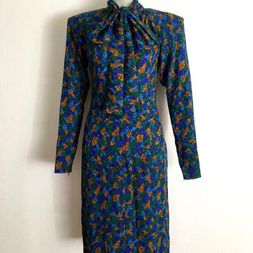 YSL!!! Vintage 1980s 'Yves Saint Laurent' printed silk day dress with pussy bow neck and exaggerated, angled shoulders / Made in France
