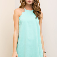 Mint Scallop Detail Halter Dress