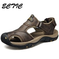 2018 Super Cool Sneakers Round Head Hiking Shoes for Men Genuine Leather Trail Climbing Sports Shoes Beach Walking Sneaker