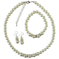 NS656  Bridal Bridemaids Wedding Ivory Pearls w/ Silver Diamante Jewelry Set Free Shipping In US