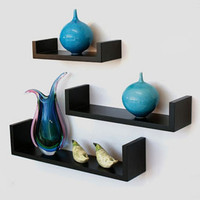 Aakashi Chocolate Brown Floating 3 Piece Wall Shelf