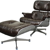 Grayson Lounge Chair and Ottoman Aluminium Frame, Distressed Java