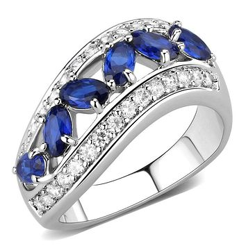 Right Hand Ring 3W1569 Rhodium Brass Ring with Synthetic in London Blue