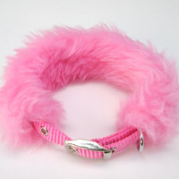 Kawaii Puppy Collar Baby Pink Small Dog Collar Girly Collar Cute Size S with Faux Fur Sleeve