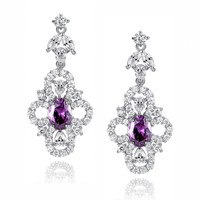 Purple Oval and Clear Teardrop, Marquise and Round Cubic Zirconia Earrings
