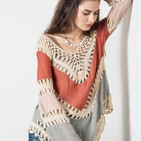 Multi Colored Crochet Top - Rust