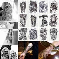 12 Sheets 3D Waterproof Body Art Tattoo Sticker Handsome Tatouage Glitter Black Temporary Flash henna Tattoos For Man Women
