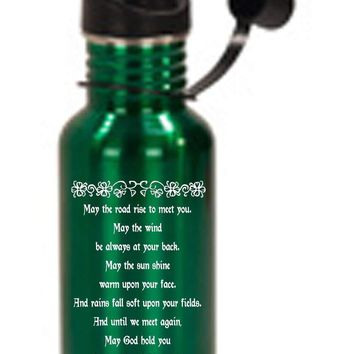 Hat Shark Irish Blessing Prayer May the Road Rise Up Green Celtic Knot 3D Color Printed 17 oz Stainless Steel Water Bottle Green