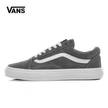 Vans White Gray Old Skool Low Top Women Sneaker Flats Shoes Canvas Sport Shoes