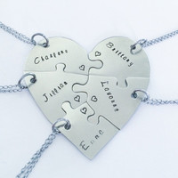 Hand stamped friendship puzzle necklaces, shaped like a heart - perfect for 5 people