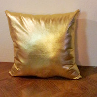 Gold Pillow- Faux Leather Accent Pillow