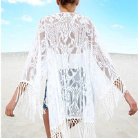 Lace Patchwork Tassels Jacket [6338909505]