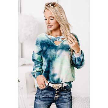 Out Of Nowhere Tie Dye Brushed French Terry Top
