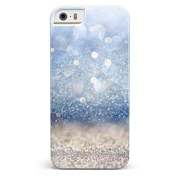 Blue Unfocused Silver Sparkle iPhone 5/5s or SE INK-Fuzed Case