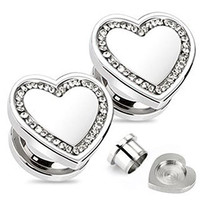 Pair of 10mm Heart Ear Plugs with 24 CLEAR Gems Screw Fit