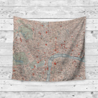 """""""London Town"""" Map Wall Tapestry"""