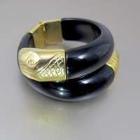 Black Lucite Snake Bracelet. Mod. Dep. French Coiled Snake Serpent Cuff Bangle Gold Head Tail. European Mod. Dep. Jewelry.