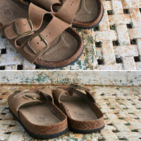 Size 9 Vintage Brown Leather Sandals Mountain Country Shoes Birkenstocks