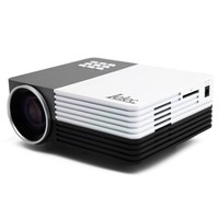 """LELEC LE-50 Maximum 100"""" Screen Portable Mini  Pc Av TV VGA USB HDMI Interface Power Bank Supported LED Home Video Movie Projector For Outdoor Camping, Movie Night with Families Mobile Projector - Black&Silver #B01011"""