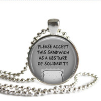 Castiel Supernatural Quote Necklace Please Accept This Sandwich As A Gesture Of Solidarity