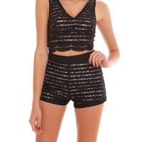 Post Show Two Piece Shorts Set - Black