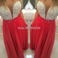 Deep V Neck Sexy Prom Dress 2017 Red Evening Gowns with Pearls Lace A line Floor Length Formal Dress vestidos de fiesta