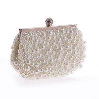 2018 White Pearl Beading Elegant Women Day Clutches Long Chain Party Banquet Bridal Wedding  Evening Bags Handbags and Purses