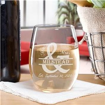 Engraved Mr. and Mrs. Stemless Wine Glass