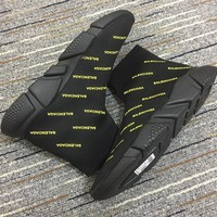 Balenciaga Speed Black Trainers With Yellow Logo Print - Best Deal Online