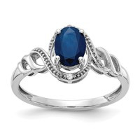 10k White Gold Genuine Blue Sapphire Oval and Diamond Ring