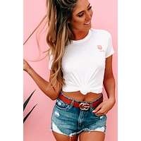 """""""Peachy"""" Embroidered Graphic Tee (Ivory)"""
