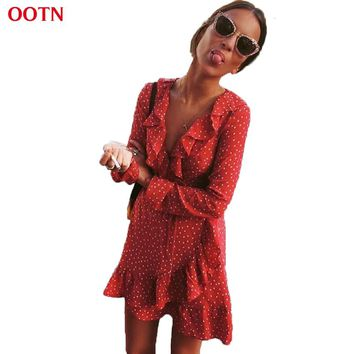 OOTN Ruffled Wrap Sun Dress Red Women Long Sleeve Mini Short Stars Dresses Vintage Tunic Female 2019 Summer Sexy Black Blue