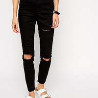ASOS Ridley High Waist Ultra Skinny Ankle Grazer Jeans in Clean Black