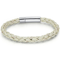 Braided Leather and Stainless Steel Locking Clasp 7mm Bracelet - White