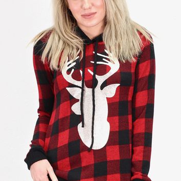Gold Sheen Deer + Buffalo Plaid Hoodie {Red/Black}