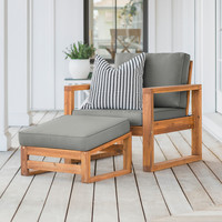 Hudson Patio Chair & Ottoman Set