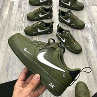 NIKE AIR FORCE 1 AF1 OW Running Sport Shoes Sneakers green