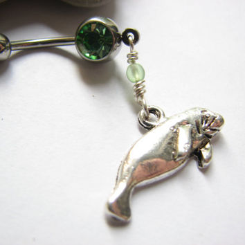 Manatee Belly Button Ring - Sea Cow Belly Button Jewelry Bellybutton Ring Belly Ring