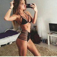 2017 newest Halter top push up high waist bikini set Hollow triangle sexy swimwears women strappy Bandage swimsuit bathing suit