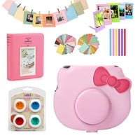 For Fujifilm Instax Mini HELLO KITTY Instant Film Camera Pink  PU Leather Bag Case Cover Skin + Album + 10Pcs Accessories Set