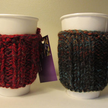 His and Hers Coffee Cozies, Wool, Acrylic, Red, Gold, Multi, Handmade