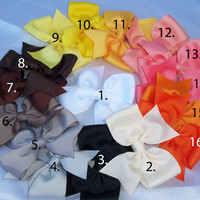 Choose 5 bows for 5.00 pinwheel hair bows baby hair bows infant hair bows girls hair bows 51 color choices no slip grippies available