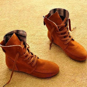 Women Suede Lace Up Winter warm snow Boots Flat Ankle shoes